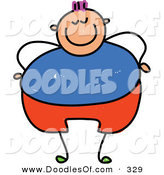 Vector Clipart of a Childs Sketch of a Happy Overweight Boy by Prawny