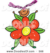 Vector Clipart of a Childs Sketch of a Little Girl with a Flower Body by Prawny