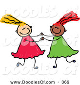 Vector Clipart of a Childs Sketch of a Pair of Girls Playing Together by Prawny