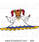 Vector Clipart of a Childs Sketch of a Peaceful Angel on White by Prawny