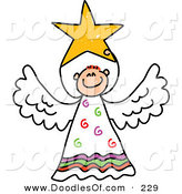 Vector Clipart of a Childs Sketch of a Peaceful Angel with a Star by Prawny