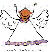 Vector Clipart of a Childs Sketch of a Peaceful Angel with His Arms up by Prawny