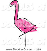 Vector Clipart of a Childs Sketch of a Pink Flamingo Looking Left by Prawny