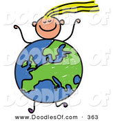Vector Clipart of a Childs Sketch of a Running Girl with a European Globe Body by Prawny