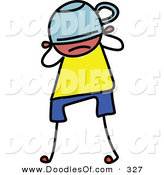 Vector Clipart of a Childs Sketch of a Sad Kid with a Hat over His Face by Prawny