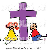 Vector Clipart of a Childs Sketch of a Smiling Boy and Girl with a Purple Cross by Prawny