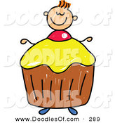 Vector Clipart of a Childs Sketch of a Smiling Boy with a Cupcake Body by Prawny