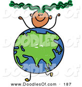 Vector Clipart of a Childs Sketch of a Smiling Boy with an Asian Globe Body by Prawny