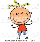 Vector Clipart of a Childs Sketch of a Smiling Boy with Blond Hair and a Big Smile by Prawny