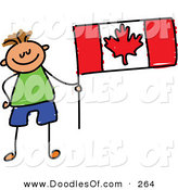 Vector Clipart of a Childs Sketch of a Smiling Canadian Boy with a Flag by Prawny