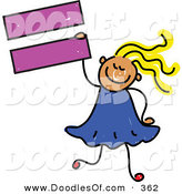 Vector Clipart of a Childs Sketch of a Smiling Child Girl Holding an Equal Sign by Prawny
