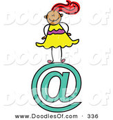 Vector Clipart of a Childs Sketch of a Smiling Email Girl by Prawny