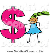 Vector Clipart of a Childs Sketch of a Smiling Girl and Dollar Symbol by Prawny