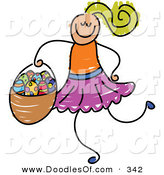 Vector Clipart of a Childs Sketch of a Smiling Girl Carrying an Easter Basket by Prawny