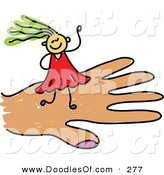 Vector Clipart of a Childs Sketch of a Smiling Girl on a Hand by Prawny