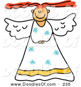 Vector Clipart of a Childs Sketch of a Smiling Peaceful Angel by Prawny