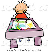 Vector Clipart of a Childs Sketch of a Smiling Toddler Boy Coloring a Picture by Prawny
