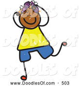 Vector Clipart of a Child's Sketch of a Stick Figure Boy with Head Lice by Prawny