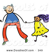Vector Clipart of a Childs Sketch of a Tall Father Holding Hands with His Daughter by Prawny
