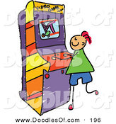 Vector Clipart of a Childs Sketch of a White Boy Playing a Video Game by Prawny