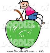 Vector Clipart of a Childs Sketch of a White Boy Sitting on a Green Apple by Prawny
