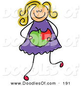 Vector Clipart of a Childs Sketch of a White Girl Holding a Bitten Apple by Prawny