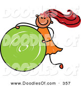 Vector Clipart of a Childs Sketch of a Wild Girl Rolling a Green Circle by Prawny