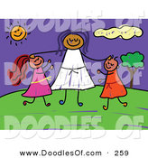Vector Clipart of a Childs Sketch of a Woman and Two Kids at a Park by Prawny