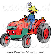 Vector Clipart of a Childs Sketch of a Young Farmer Boy Riding a Tractor by Prawny