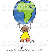 Vector Clipart of a Childs Sketch of an African American Boy Holding up an African Globe by Prawny
