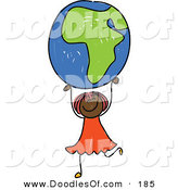 Vector Clipart of a Childs Sketch of an African American Girl Holding up an African Globe by Prawny