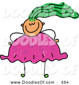 Vector Clipart of a Childs Sketch of an Overweight Girl with Crazy Hair by Prawny