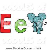 Vector Clipart of a Childs Sketch of Big and Little E Is for Elephant by Prawny