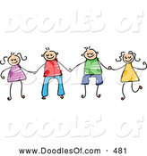 Vector Clipart of a Childs Sketch of Boys and Girls Holding Hands, on White by Prawny
