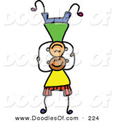 Vector Clipart of a Childs Sketch of Boys Balancing on Each Others' Heads by Prawny
