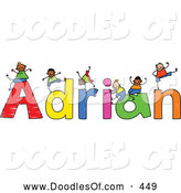 Vector Clipart of a Childs Sketch of Boys Playing on Letters of the Name Adrian by Prawny