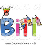 Vector Clipart of a Childs Sketch of Boys Playing on the Spelled Name Bill by Prawny