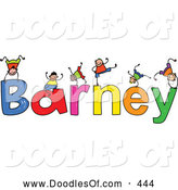 Vector Clipart of a Childs Sketch of Boys Playing on the Wobbly Name Barney by Prawny