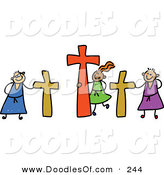 Vector Clipart of a Childs Sketch of Calvary Kids with Crucifixes by Prawny
