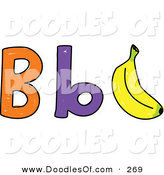 Vector Clipart of a Childs Sketch of Capital and Lowercase B's with a Banana on White by Prawny