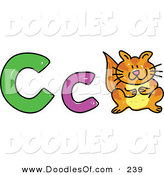Vector Clipart of a Childs Sketch of Capital and Lowercase C's and a Cat on White by Prawny