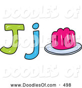Vector Clipart of a Child's Sketch of Capital and Lowercase Letter J with Jelly by Prawny