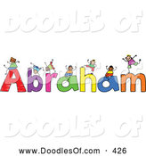 Vector Clipart of a Childs Sketch of Cheerful Boys Playing on the Name Abraham by Prawny