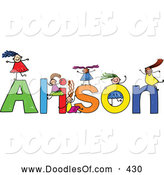 Vector Clipart of a Childs Sketch of Cheerful Girls Playing on the Name Alison by Prawny