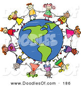 Vector Clipart of a Childs Sketch of Children Grasping Hands Around an American Globe by Prawny