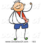 Vector Clipart of a Childs Sketch of Childs Sketch of a Hurt Boy with His Arm in a Sling by Prawny