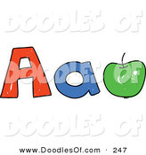 Vector Clipart of a Childs Sketch of Childs Sketch of Capital and Lowercase Letter A's and a Green Apple by Prawny
