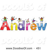 Vector Clipart of a Childs Sketch of Cute Boys Playing on the Name Andrew by Prawny