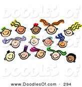 Vector Clipart of a Childs Sketch of Faces on White by Prawny