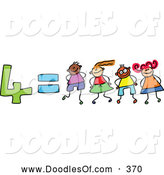 Vector Clipart of a Childs Sketch of Four Equals 4 Children Kindergarten Math by Prawny
